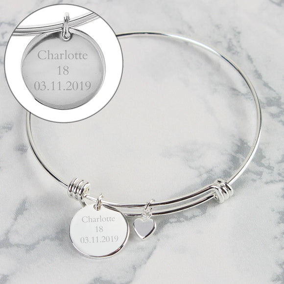 Personalised Silver Coloured Disc and Heart Charm Bracelet