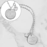 Personalised Silver Coloured Disc & Heart Charm Necklace