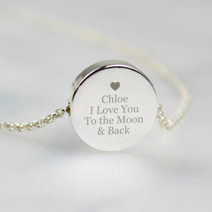 Personalised Heart and Message Silver Tone Disc Necklace - Mother's Day - Grandma Auntie Gran Nan - Bridesmaid Gift