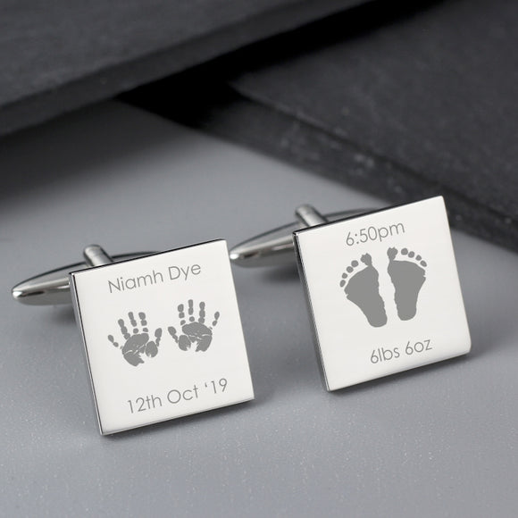 Personalised Hands and Feet New Baby Square Cufflinks - Father's Day