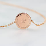 Personalised Wreath Initials Rose Gold Tone Disc Necklace