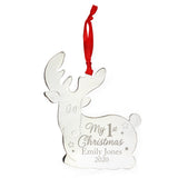 Personalised My 1st Christmas Reindeer Metal Decoration