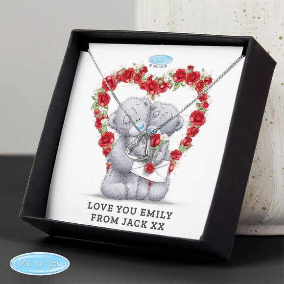 Personalised Me to You Valentine Sentiment Heart Necklace and Box