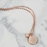 Personalised Rose Gold Coloured Disc and Heart Charm Necklace