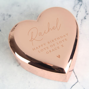 Personalised Free Text Rose Gold Heart Trinket Box