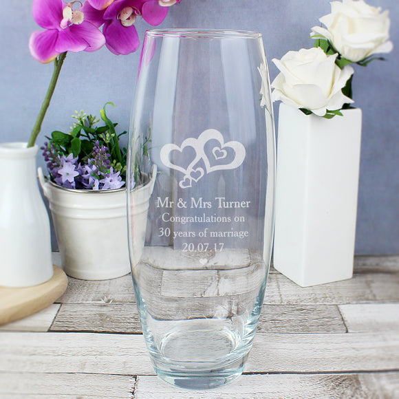 Personalised Love Hearts Bullet Vase
