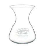 Personalised Beautiful Mum 22cm Glass Vase