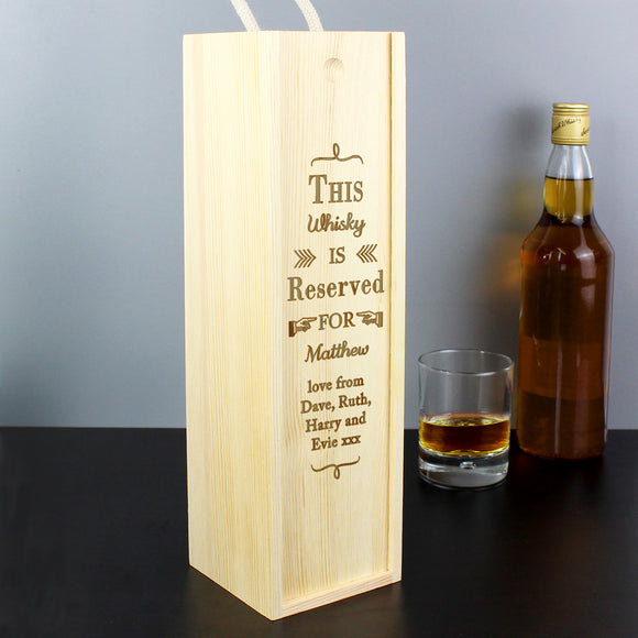 Personalised Reserved For Wooden Wine Bottle Box