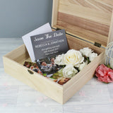 Personalised Bridesmaid 'Floral Watercolour Wedding' Large Wooden Keepsake Box