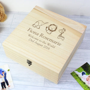 Personalised Hessian Friends Large Wooden Keepsake Box - New baby - Baby gift - Newborn