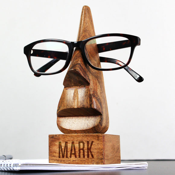 Personalised Wooden Nose-Shaped Glasses Holder with Name