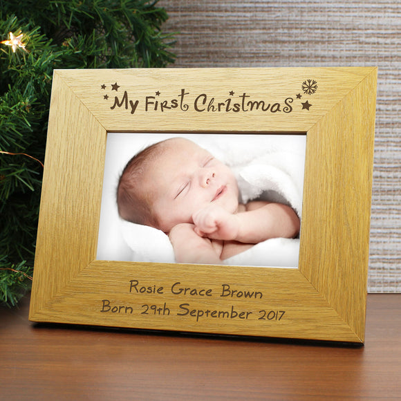 Personalised Oak Finish 6x4 My First Christmas Photo Frame