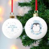 Personalised 1st Christmas Pengiun Bauble