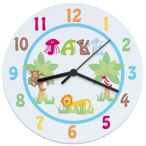 Personalised Animal Alphabet Boys Large Wooden Clock - Birthday Gift - Nursery