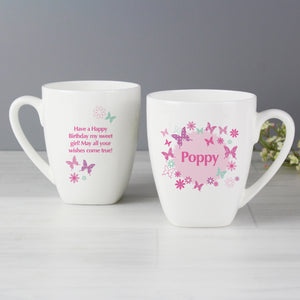 Personalised Butterfly Latte Mug