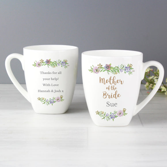 Personalised Mother of the Bride 'Floral Watercolour Wedding' Latte Mug