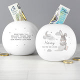 Personalised Baby Bunny Round Money Box