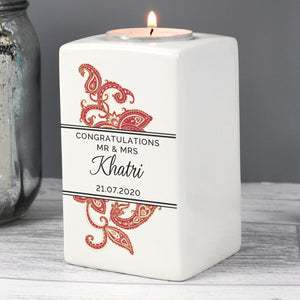 Personalised Paisley Wedding Ceramic Tea Light Candle Holder