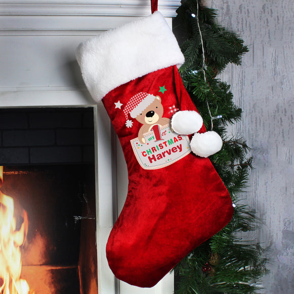 Personalised Pocket Teddy My 1st Christmas Luxury Stocking