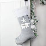 Personalised Polar Bear Luxury Silver Grey Stocking