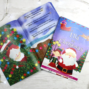 "Personalised Girls ""It's Christmas"" Story Book, Featuring Santa and his Elf Twinkles"