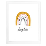 Personalised Mustard & Pink Rainbow White Framed Print