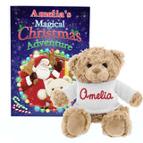 Personalised Magical Christmas Adventure Story Book and Personalised Bear