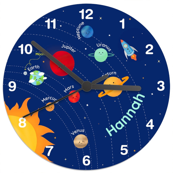 Personalised Solar Sytem Glass Clock - Birthday gift - Gift for children - Science - Space - Planets