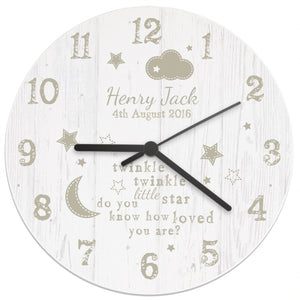 Personalised Twinkle Twinkle Shabby Chic Large Wooden Clock - New Baby - Nursery