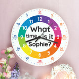 Personalised What Time Is It? Wooden Clock - Birthday gift - Gift for children
