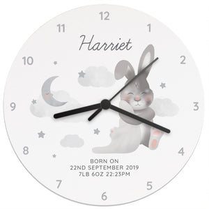 Personalised Baby Bunny White Wooden Clock - New Baby - Nursery
