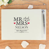 Personalised Mr & Mrs Hardback Guest Book & Pen