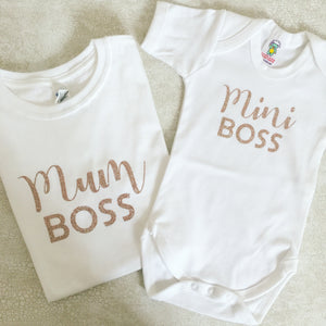 Personalised Mummy Daughter T-shirt Set - Mum Boss Mini Boss