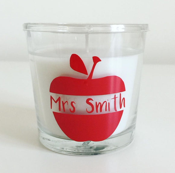 Personalised Teacher Candle - Apple design