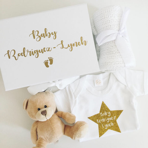 Personalised Baby Gift Box - With Vest, Blanket & Teddy