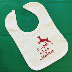 Personalised Reindeer 1st Christmas Bib