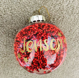 Personalised Christmas Confetti Bauble - Red, White or Gold