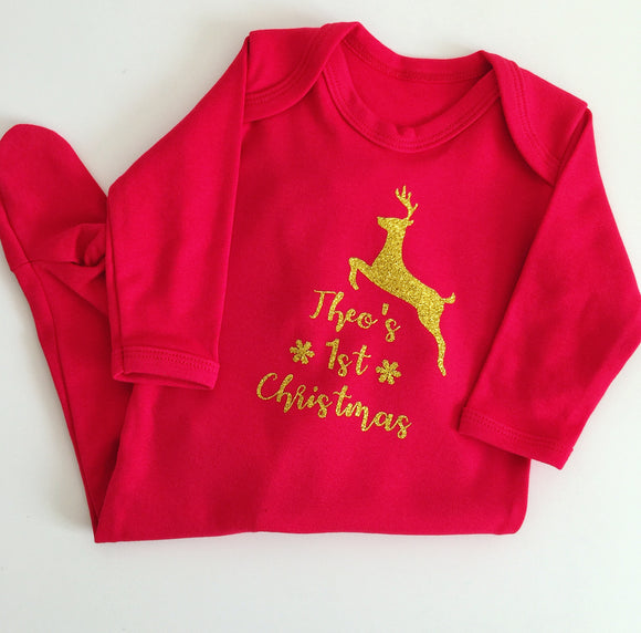 Personalised 1st Christmas Babygrow - Reindeer Design