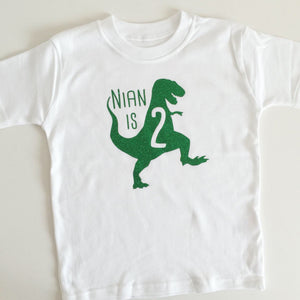 Personalised Birthday Dinosaur T-shirt