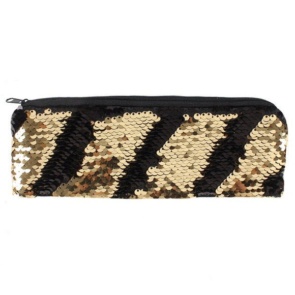 Black and Gold Reversible Sequin Pencil Case