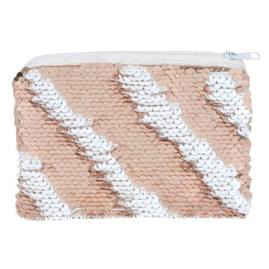 Pink and White Reversible Sequin Purse