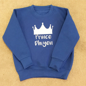 Personalised Prince Sweatshirt - Any Name - Prince Boys Design T-shirt Tee Shirt Custom Gift Birthday Gift Childrens Toddler