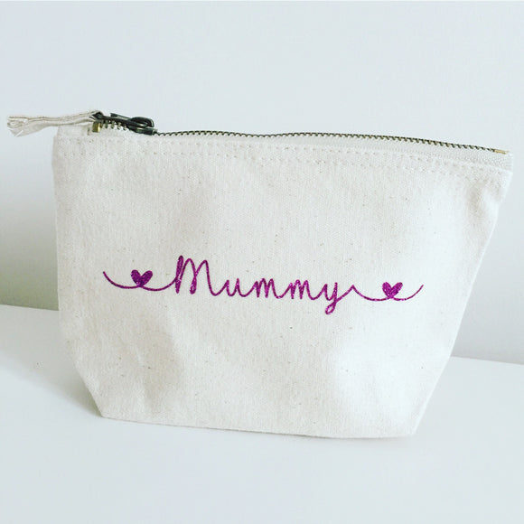 Personalised Make Up Bag - Swirl Heart Style