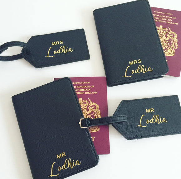 Mr and Mrs Passport Cover and Luggage Tag Set