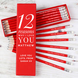 Personalised Twelve Reasons 'Why I Love You' Red Pencil Set