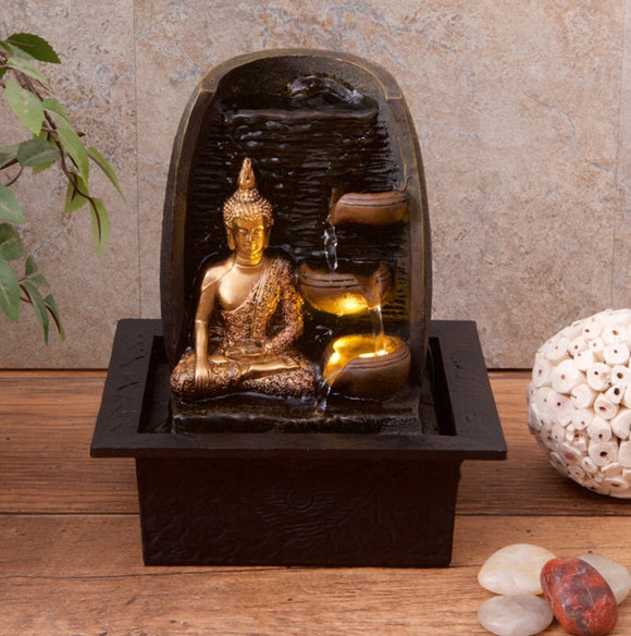 Golden Buddha Indoor Water Fountain with LED Light