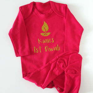 First Diwali Personalised Babygrow - Divo Design