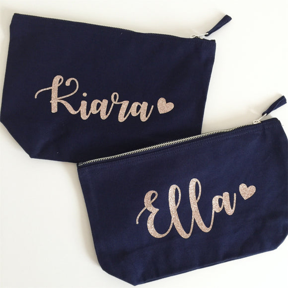Personalised Make Up Bag with Heart