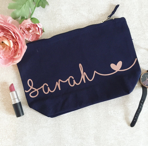 Personalised Make Up Bag with Heart - Style 2