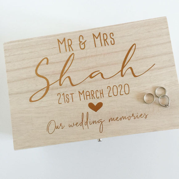 Personalised Wooden Mr and Mrs Wedding Memories Keepsake Box